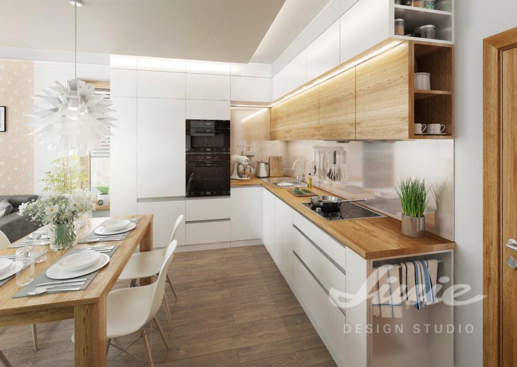 Inspirace pro kuchyně s bílými úložnými prostorami s dřevěnými prvky