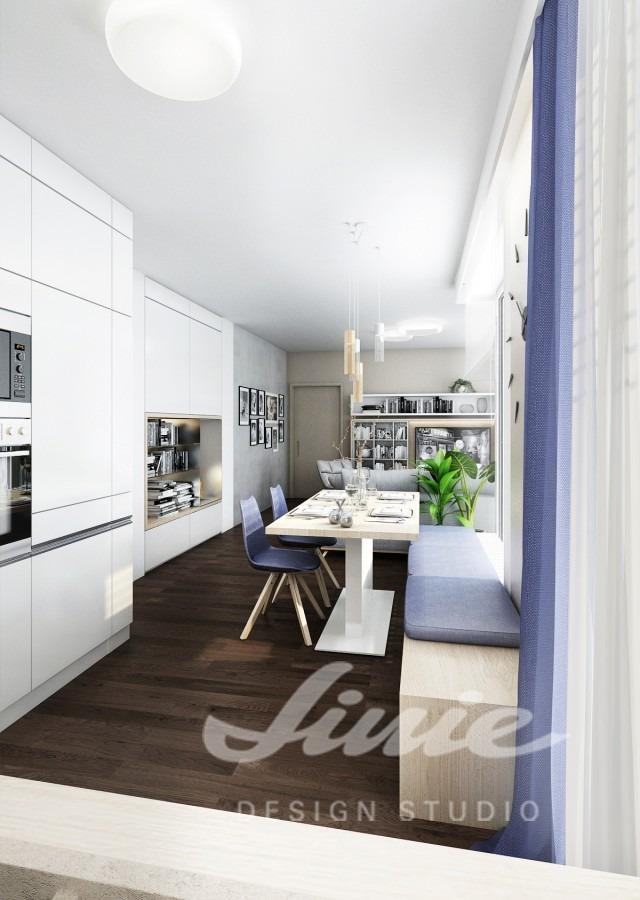 Inspirace pro kuchyně v bílé barvě s tmavě modrým textilem