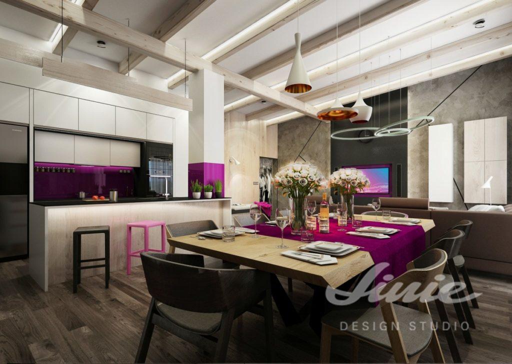 Inspirace pro kuchyni s doplňky v jasně fialové barvě