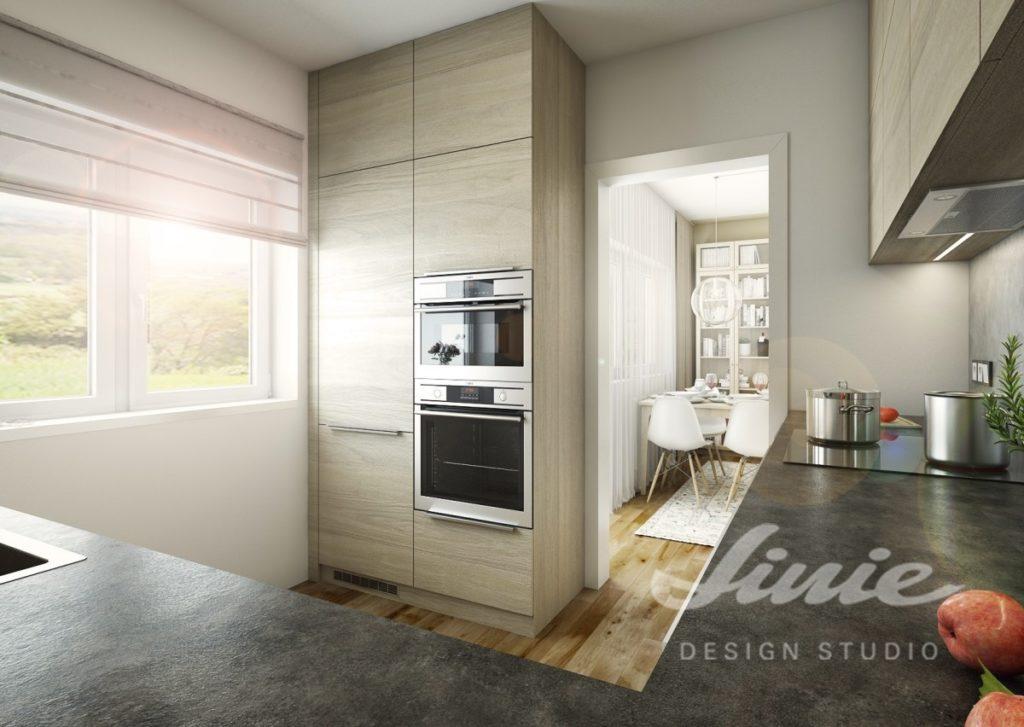 Inspirace pro kuchyně s moderními úložnými prostorami v tlumené barvě