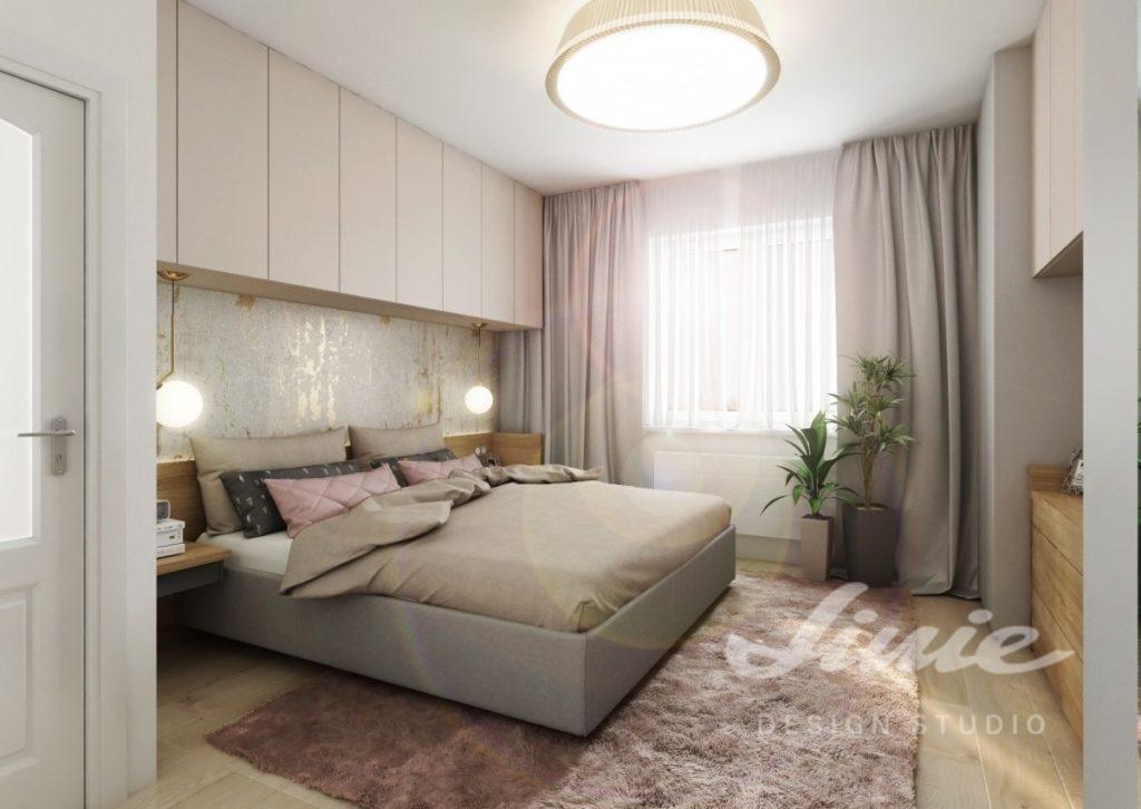 Inspirace pro ložnice zařízené v pudrových odstínech