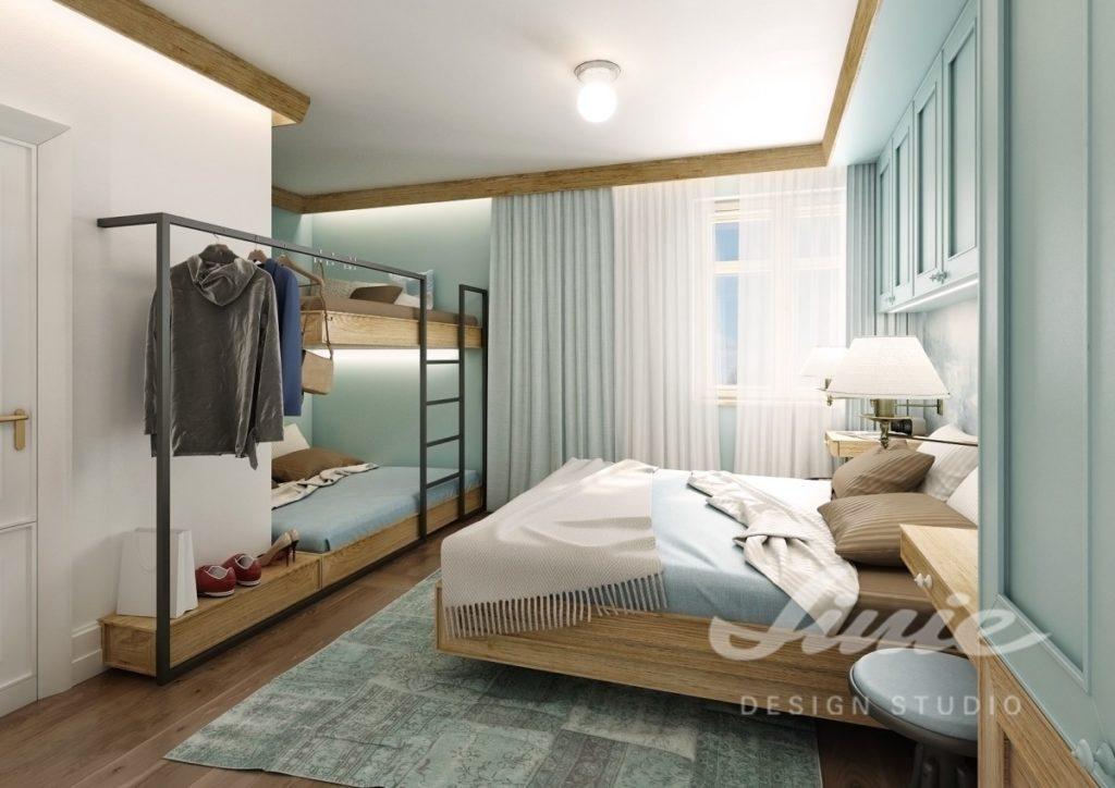 Inspirace pro ložnice v moderním stylu ve světle modré barvě
