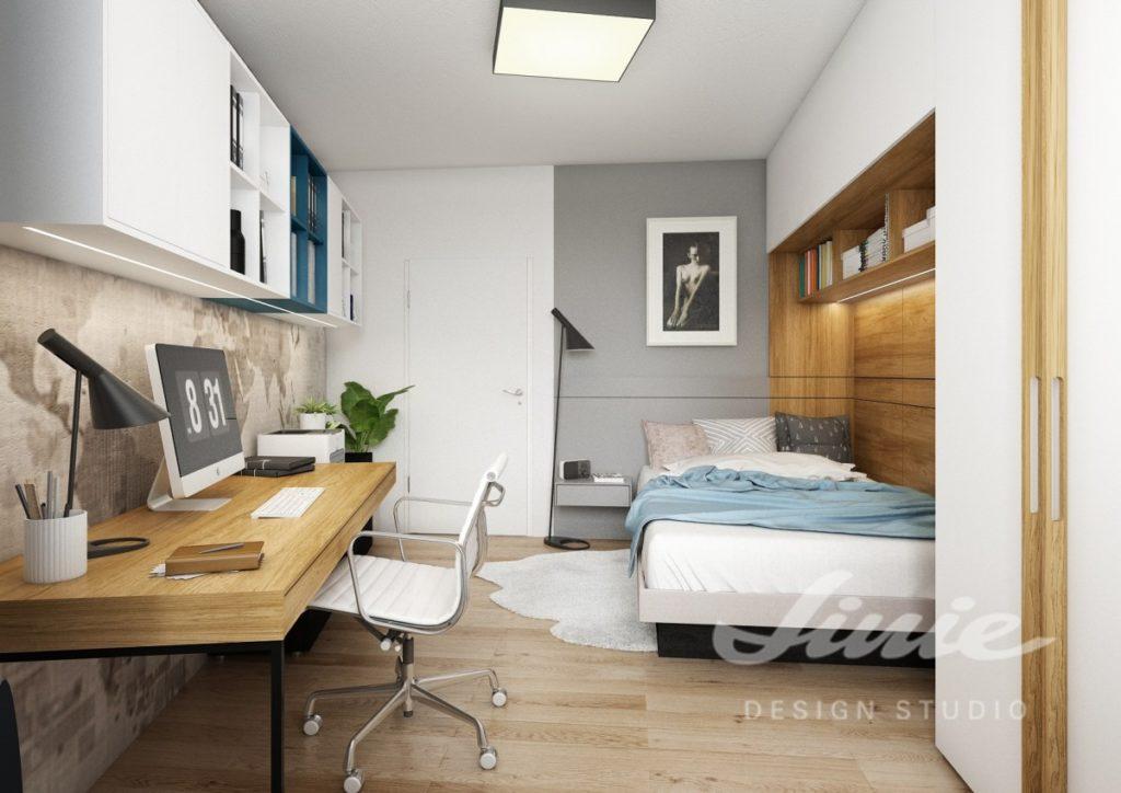 Inspirace pro ložnice v moderním stylu se světle modrým textilem