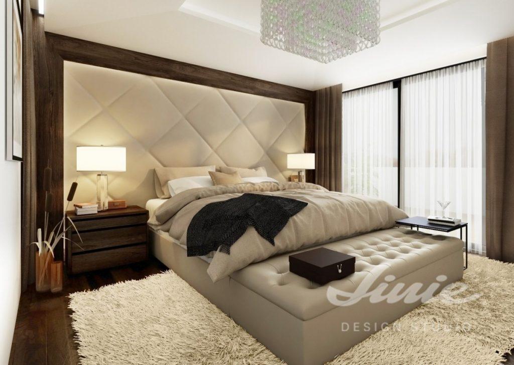 Inspirace pro ložnice v moderním stylu se světle béžovým textilem