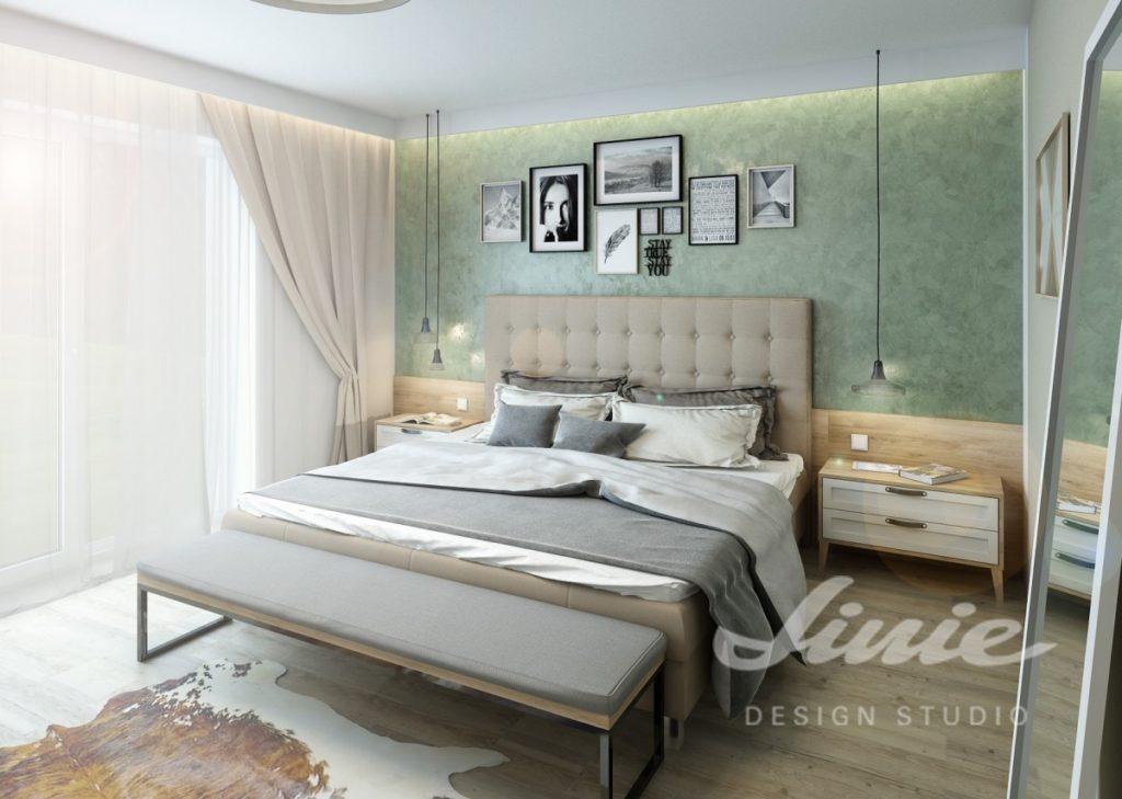 Inspirace pro ložnice v moderním stylu s pastelově zeleným a béžovým textilem
