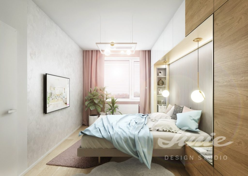 Inspirace pro ložnice v moderním stylu s pastelově modrým a růžovým textilem