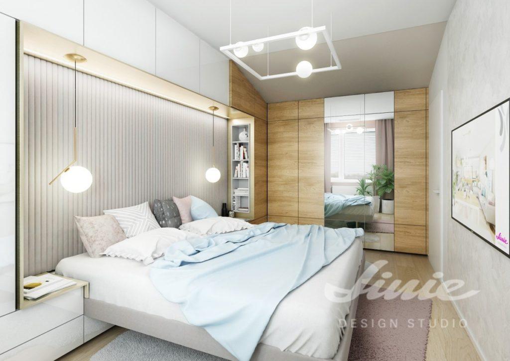 Inspirace pro ložnice v moderním stylu s pastelově modrými detaily