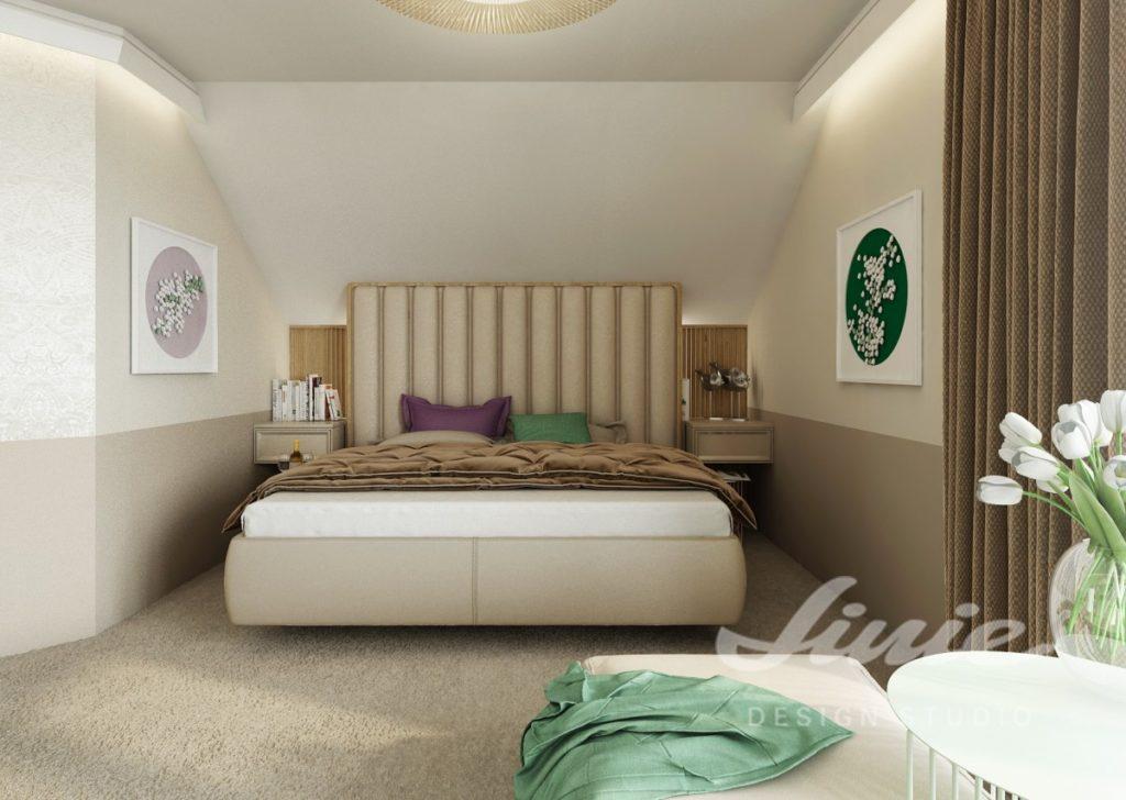 Inspirace pro ložnice v moderním stylu se zelenými a fialovými prvky