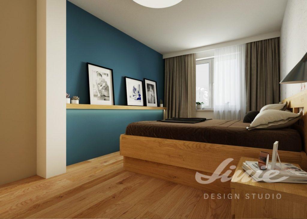 Inspirace pro ložnice v moderním stylu s petrolejovou stěnou