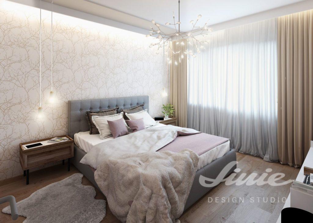 Inspirace pro ložnice v moderním stylu s lila textilem