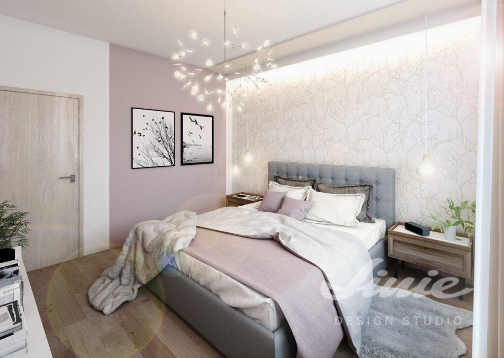 Inspirace pro ložnice v moderním stylu s lila odstíny