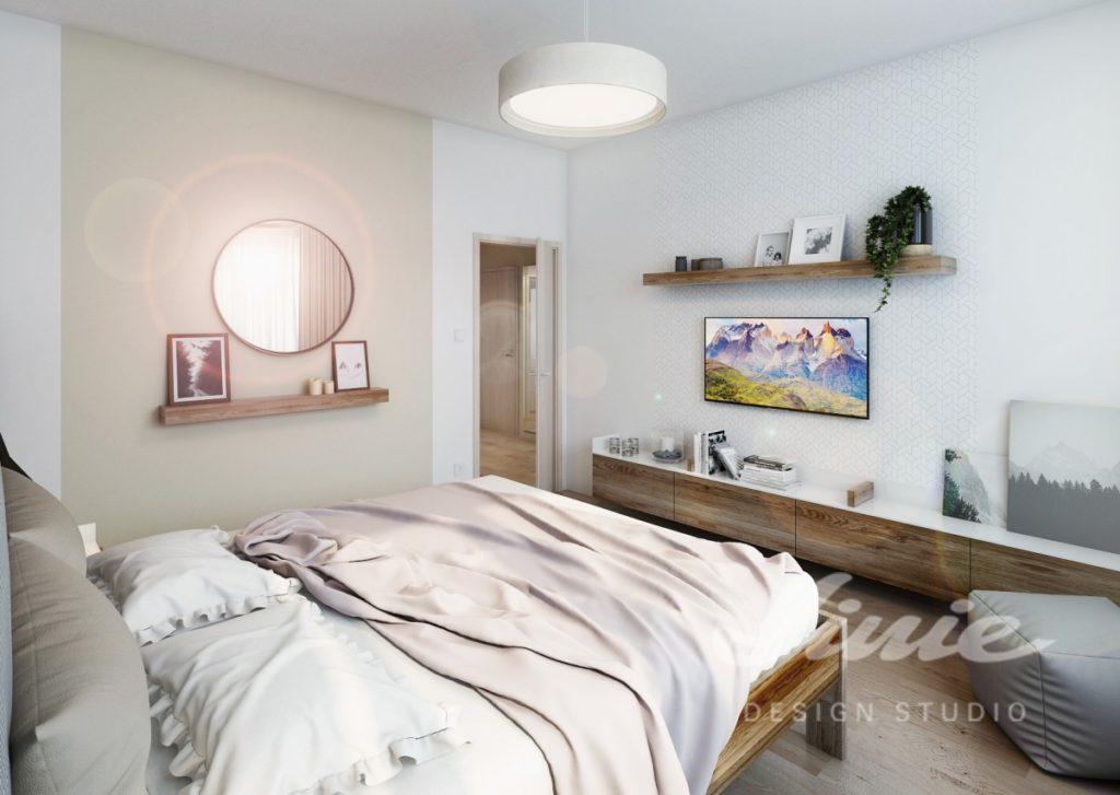 Inspirace pro ložnice v moderním stylu s pudrovým textilem
