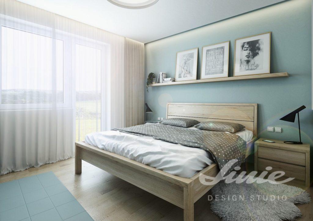 Inspirace pro ložnice v moderním stylu se světle modrými prvky