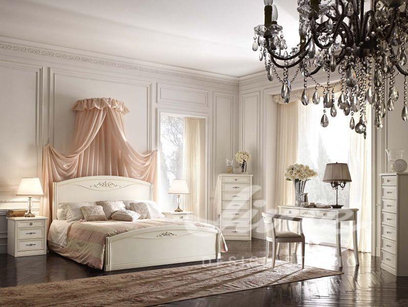 Inspirace pro ložnice v klasickém stylu s pudrovým baldachýnem