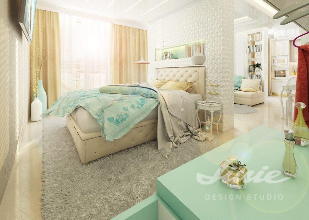 Inspirace pro ložnice v moderním stylu s tyrkysovým textilem