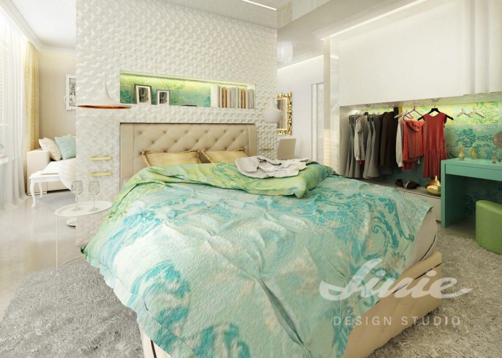 Inspirace pro ložnice v moderním stylu s tyrkysovými prvky