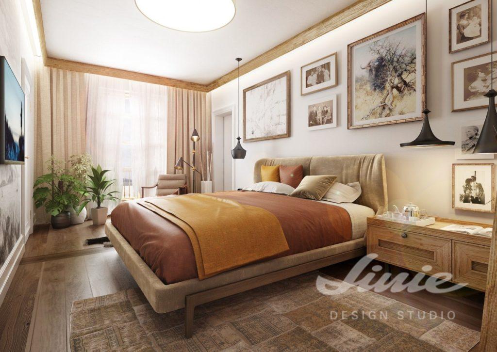 Inspirace pro ložnice v moderním stylu s oranžovými prvky