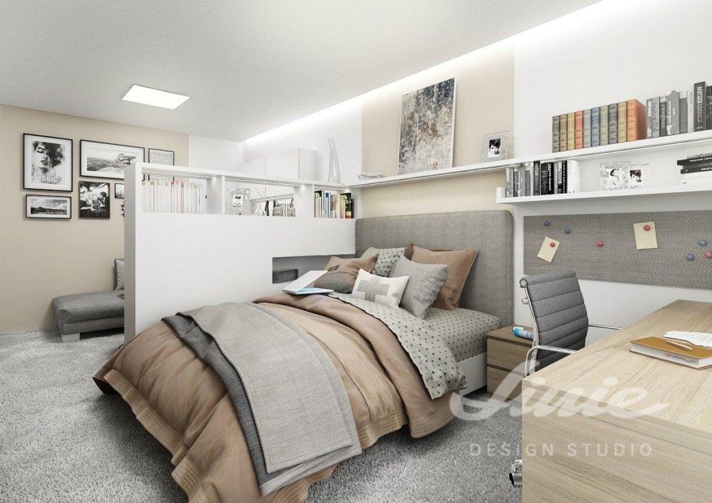 Inspirace pro ložnice s textilem ve světle hnědých a šedých odstínech