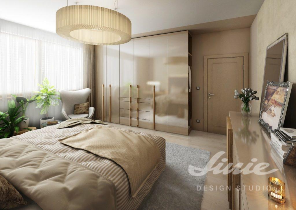 Inspirace pro ložnice v moderním provedení s tlumeně béžovými odstíny