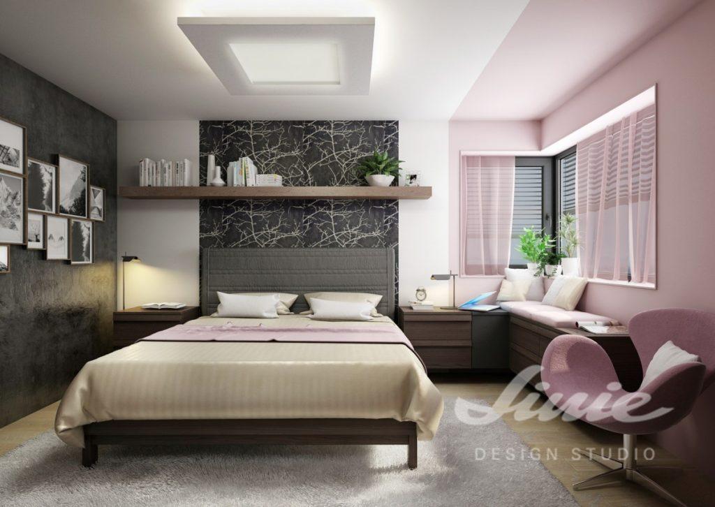 Inspirace pro ložnice v moderním provedení s jemně fialovými odstíny
