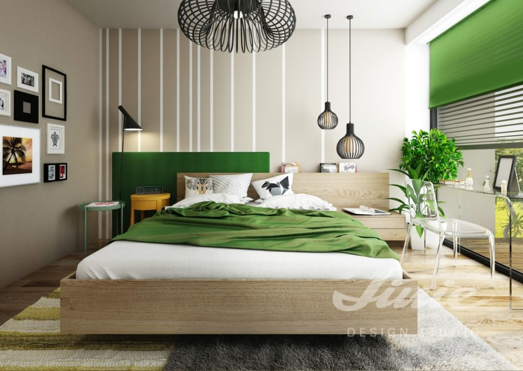 Inspirace pro ložnice v moderním provedení se zelenými odstíny