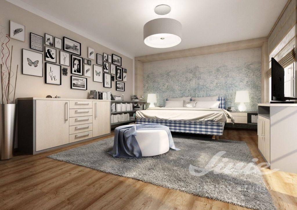Inspirace pro ložnice v moderním provedení s kostkovanými prvky