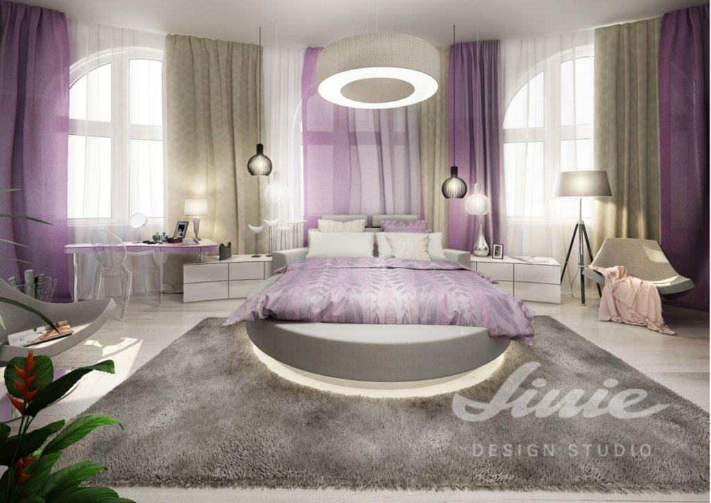 Inspirace pro ložnice v moderním provedení s lila detaily