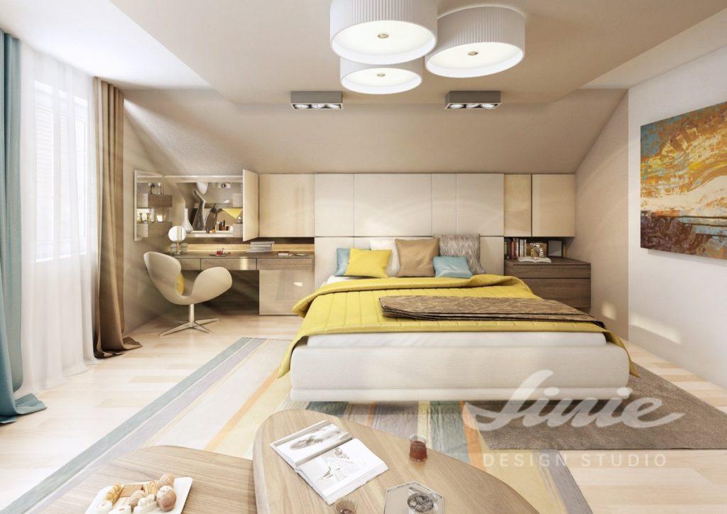 Inspirace pro ložnice s moderním designem a žlutým textilem