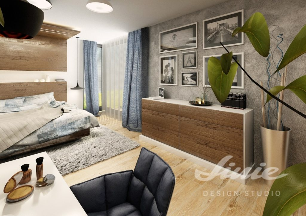 Inspirace pro ložnice s moderním designem a modrým textilem
