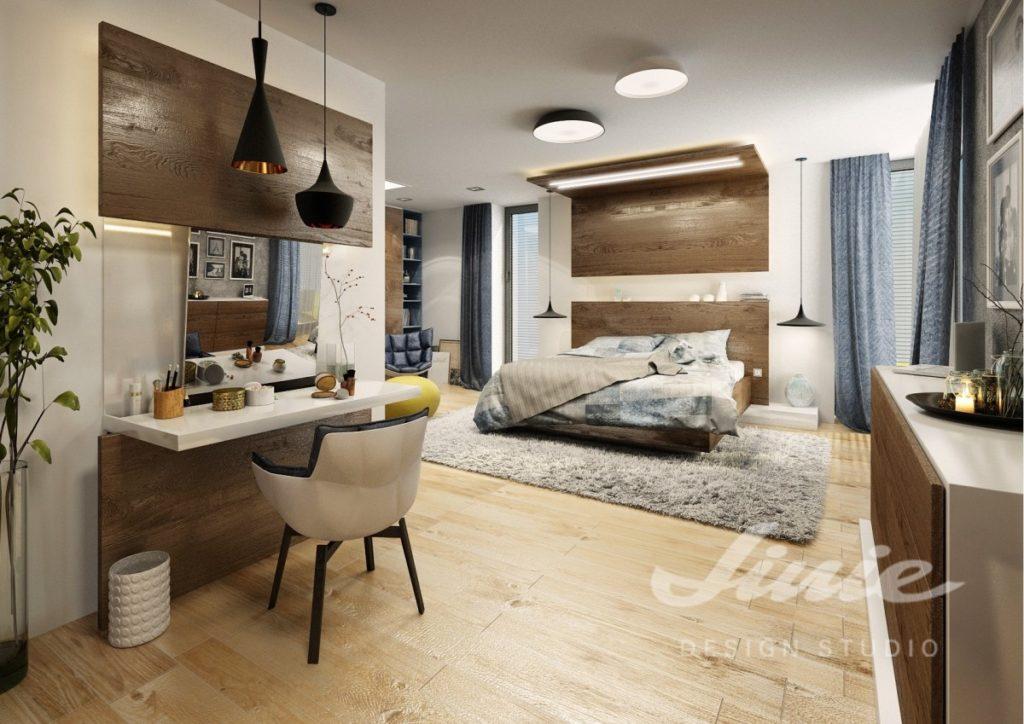 Inspirace pro ložnice s moderním designem a prvky z tmavého dřeva