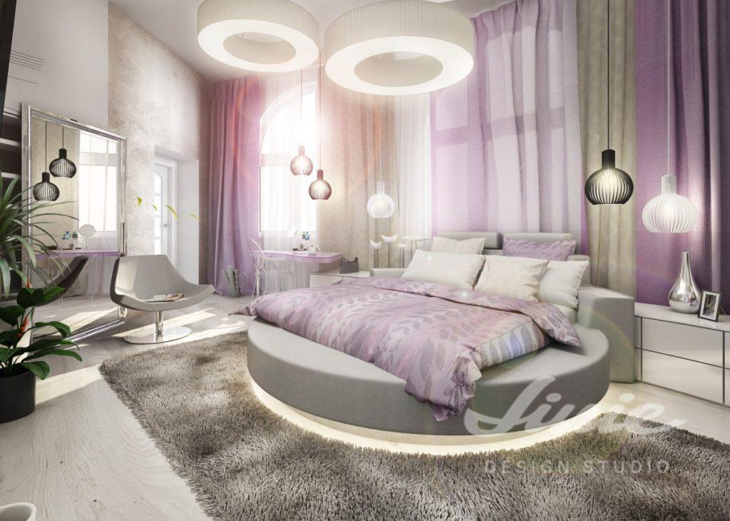 Inspirace pro ložnice se světle fialovým textilem
