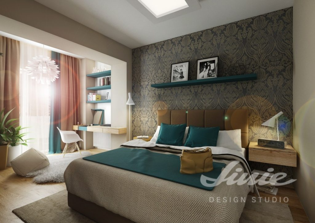 Inspirace pro ložnice s textilem v petrolejových odstínech