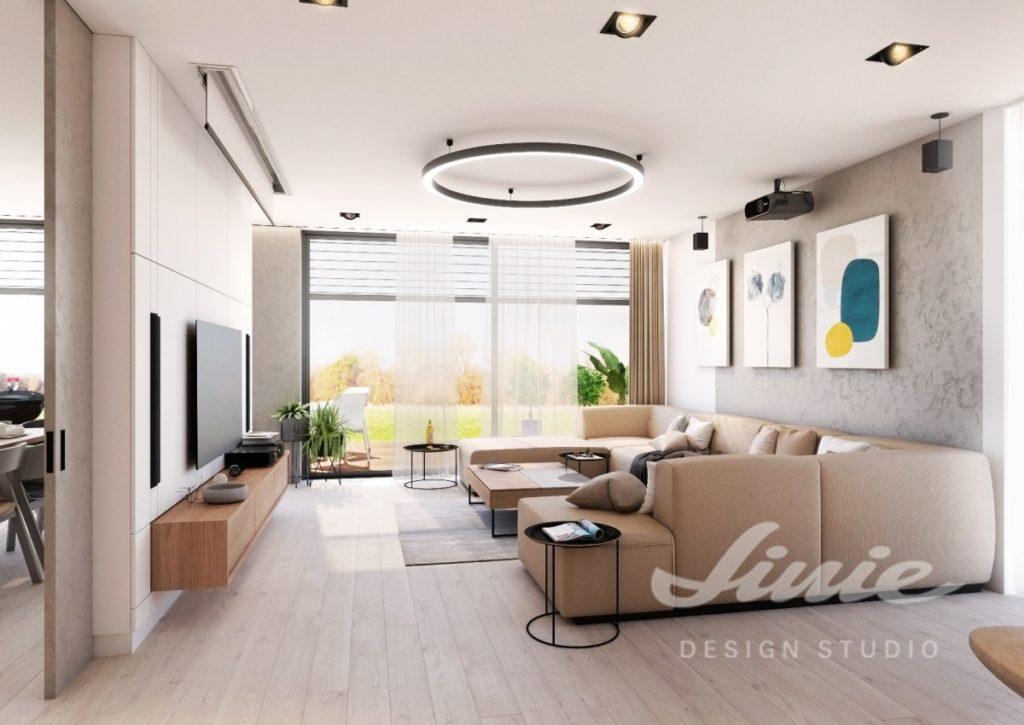 Inspirace pro obývací pokoj s béžovou sedací soupravou a podlahou ze světlého dřeva