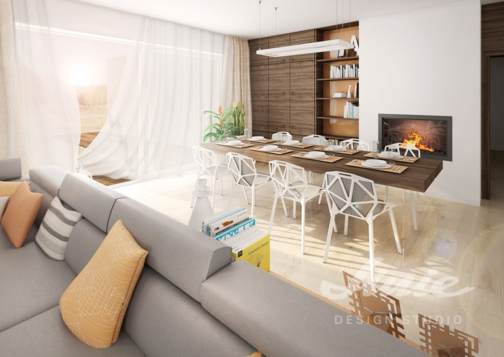 Inspirace pro obývací pokoj s pastelově oranžovým a bílým textilem