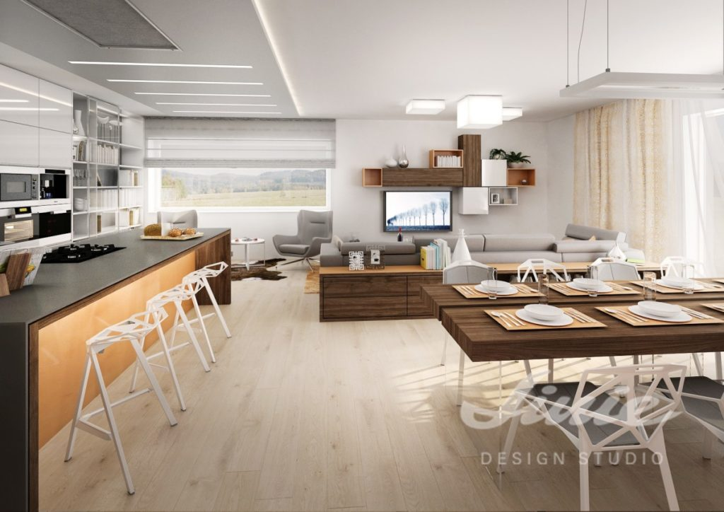 Inspirace pro obývací pokoj s pastelově oranžovými detaily