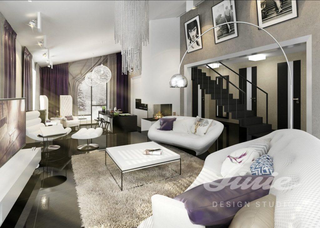 Inspirace pro obývací pokoj s tmavě fialovým textilem