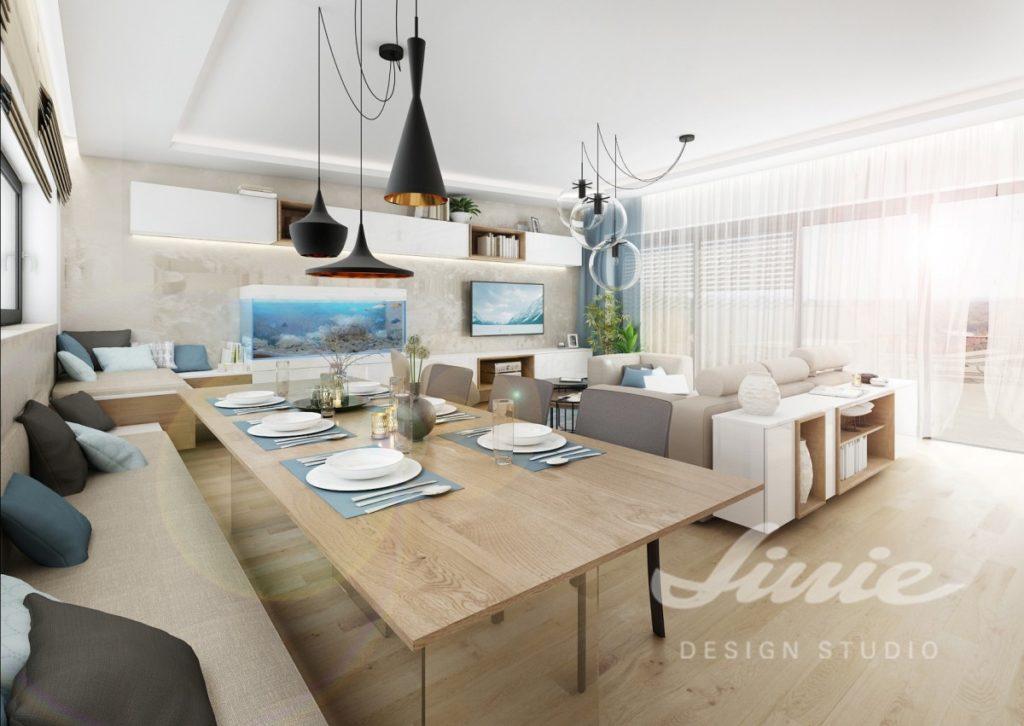 Inspirace pro obývací pokoj se světlým nábytkem a textilem