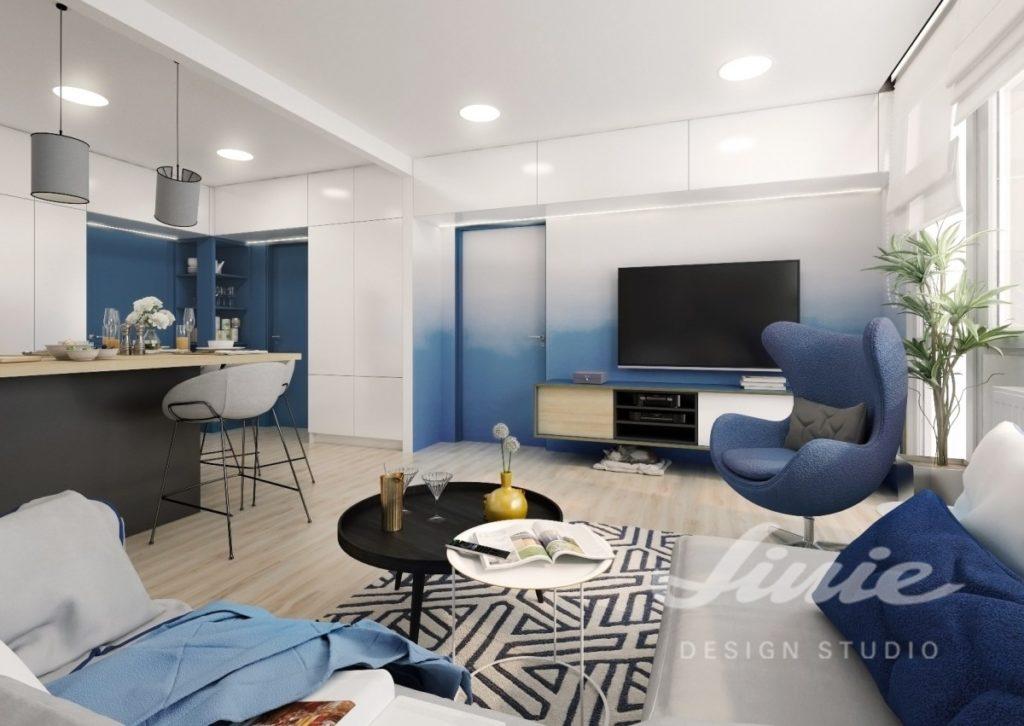 Inspirace pro obývací pokoj s prvky v tmavě modré barvě