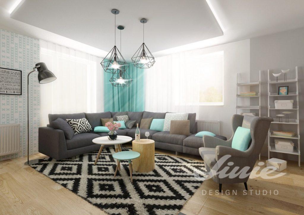 Inspirace pro obývací pokoj s tyrkysovými polštářky