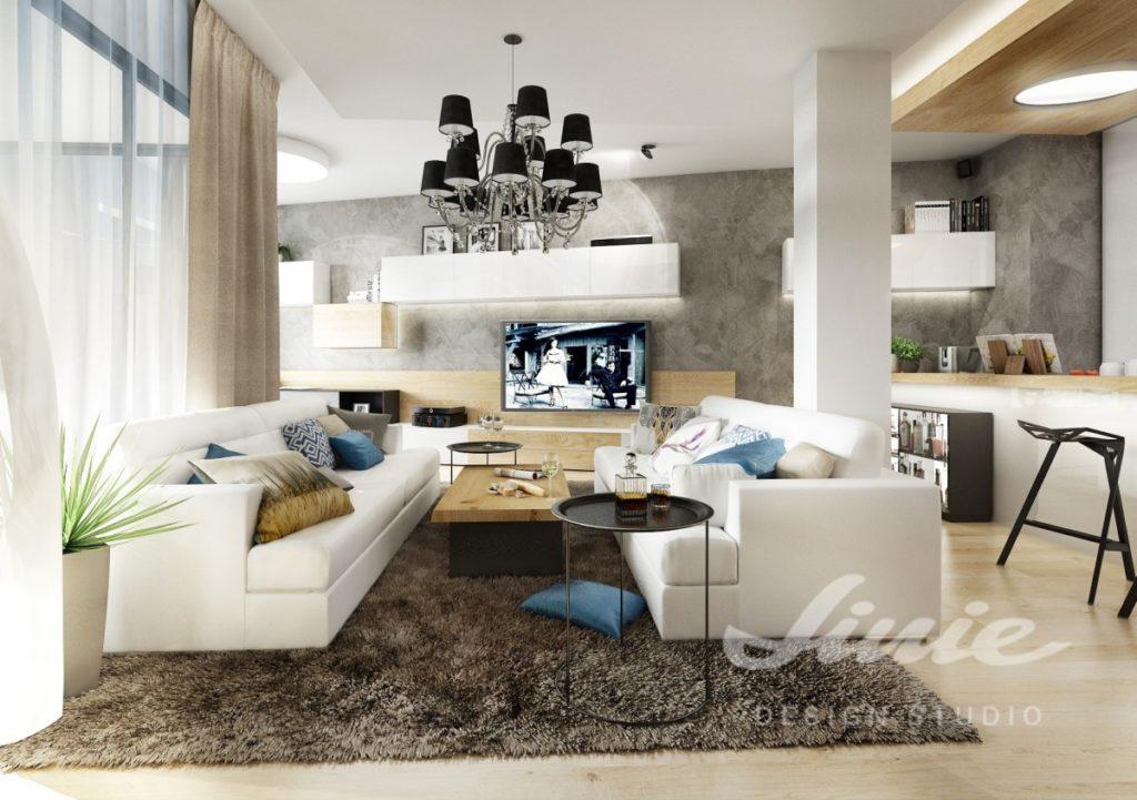 Inspirace pro obývací pokoj s bílými pohovkami a barevným textilem