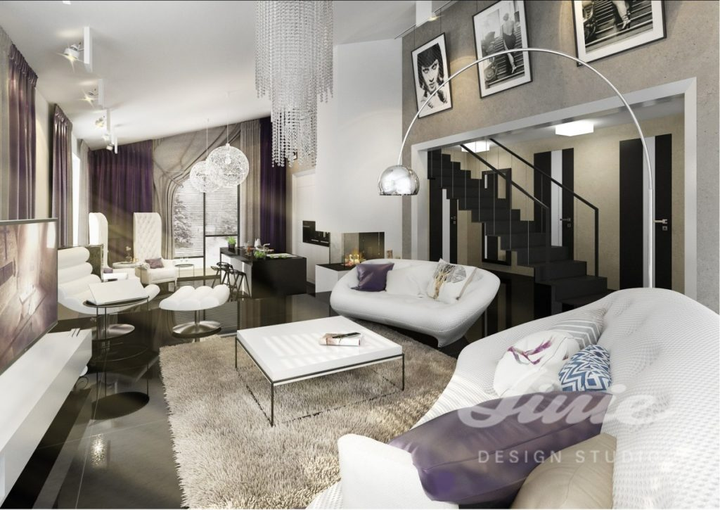 Inspirace pro obývací pokoj s bílými pohovkami