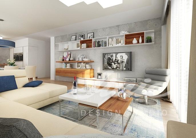 Inspirace pro obývací pokoj s tmavými textilními doplňky