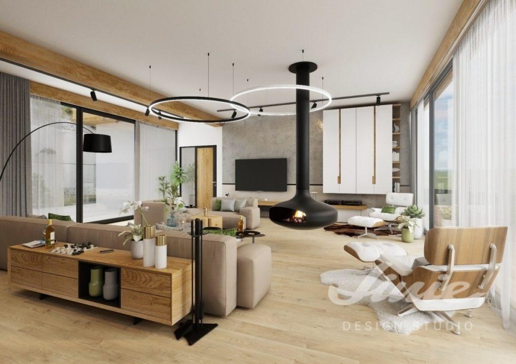 Inspirace pro obývací pokoj s nábytkem ze světlého dřeva s bílým textilem