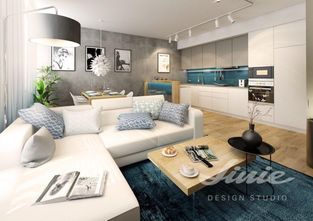 Inspirace pro obývací pokoj s petrolejovými odstíny