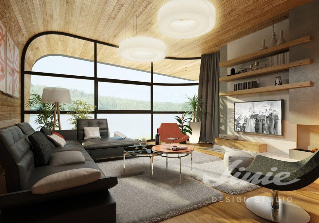 Inspirace pro obývací pokoj s dřevěným stropem