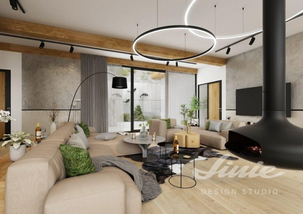 Inspirace pro obývací pokoj s černým krbem a barevným textilem