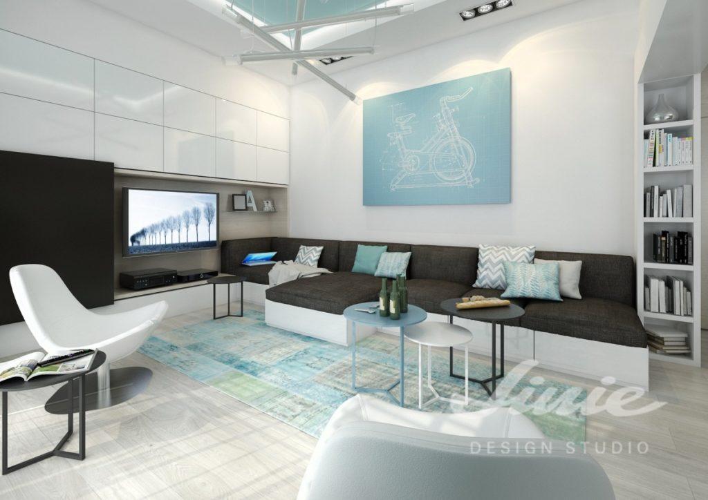 Inspirace pro obývací pokoj s modrými detaily