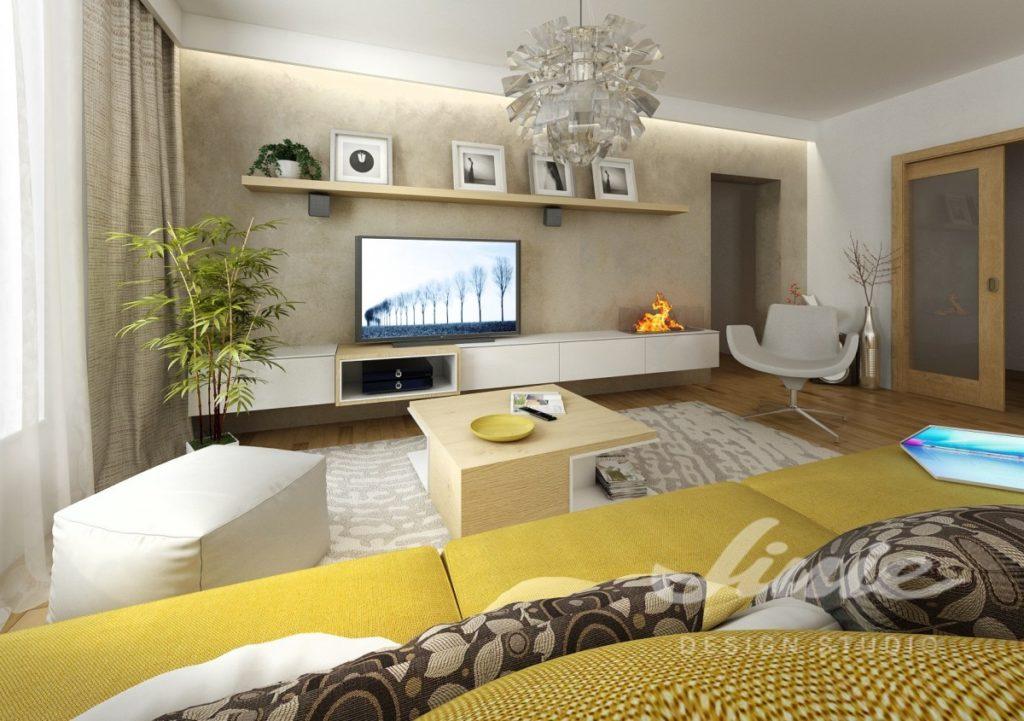 Inspirace pro obývací pokoj v hořčicovými odstíny