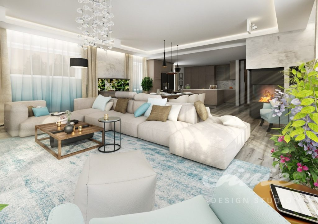Inspirace pro obývací pokoj s pastelově modrými prvky