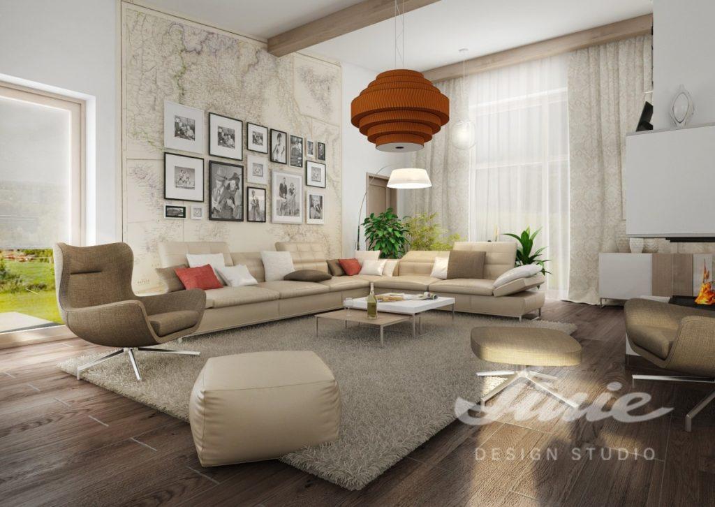 Inspirace pro obývací pokoj s prvky v teplých barvách